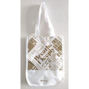 Lululemon White and Gold Shopping Bag